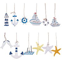 PH PandaHall 12 pcs Nautical Marine Decoration Kit, Starfish Boat Anchor Lighthouse Helm Anchor Swim Ring Home Mini Fishing Net Accessories Beach Coastal Wall Ornaments