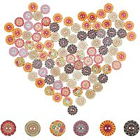 NBEADS 300 Pcs Wooden Buttons, 2 Hole Buttons Flat Round Buttons with Floral Pattern for DIY Sewing Crafting
