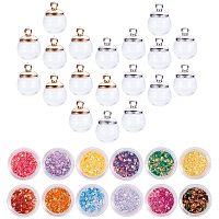 Arricraft 30pcs 16mm Mini Clear Glass Globe Vial Pendant Charms Clear Glass Ball Dome Bottle with 12 Color Laser Shining Glitter for Pendant Charms Stud Earring Making