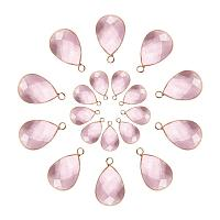 PandaHall Elite 20pcs 2 Sizes Faceted Teardrops Crystal Pearl Pink Glass Pendants Charms Drop Glass Dangle for Necklace Jewelry Making