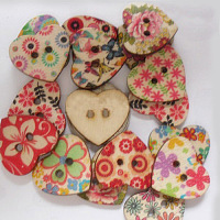 Sweetheart Painting Buttons with 2-hole, Wooden Buttons, Mixed Color, about 23mm long, 25mm wide,Hole:2mm, 100pcs/bag