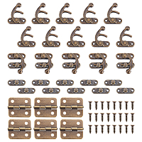 Iron Wooden Box Lock Catch Clasps, with Iron Cabinet Drawer Butt Hinges Connectors and Replacement Hinge Screws, Antique Bronze, 42~43x37x8mm, Hole: 2.5mm; 2pcs/set, 40sets