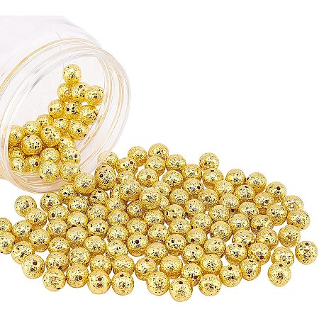 NBEADS Electroplated Natural Lava Beads Strands, Round, Bumpy, Golden Plated, 9mm, Hole: 1mm; about 141pcs/box