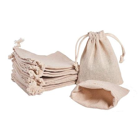 PandaHall Elite 30PCS Wheat Cotton Drawstring Bags Jewelry Pouch Reusable Bags Travel Pouch Wedding Birthday Party Favor Bags, 3.7x4.3 Inch
