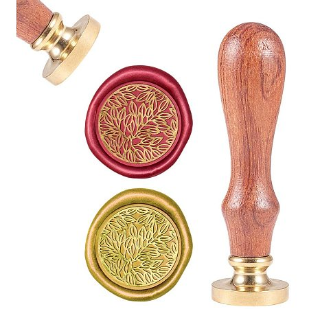 CRASPIRE Wax Seal Stamp, Sealing Wax Stamps Leaf Retro Wood Stamp Wax Seal 25mm Removable Brass Seal Wood Handle for Envelopes Invitations Wedding Embellishment Bottle Decoration