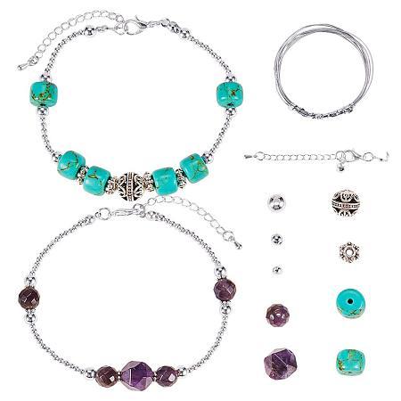 SUNNYCLUE DIY 2 Strand Natural Gemstone Turquoise Amethyst Beaded Bracelet Making Kit Semi Precious Stone Jewelry Sets for Women Girls, Silver