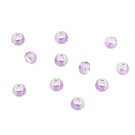 NBEADS 100Pcs Lavender Crystal Glass Charms, Faceted Lampwork Beads Large Hole European Charms Beads fit Bracelet Jewelry Making