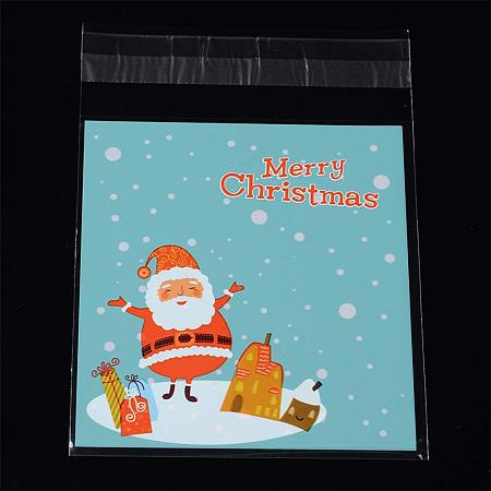 NBEADS 1 Bag (About 95~100pcs/bag) 5.5x3.9 inch Turquoise Rectangle OPP Cellophane Bags Santa Claus Pattern Self Adhesive Sealing Bags Christmas
