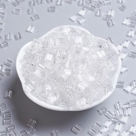 MIYUKI TILA Beads, Japanese Seed Beads, 2-Hole, (TL131) Crystal, 5x5x1.9mm, Hole: 0.8mm; about 118pcs/10g