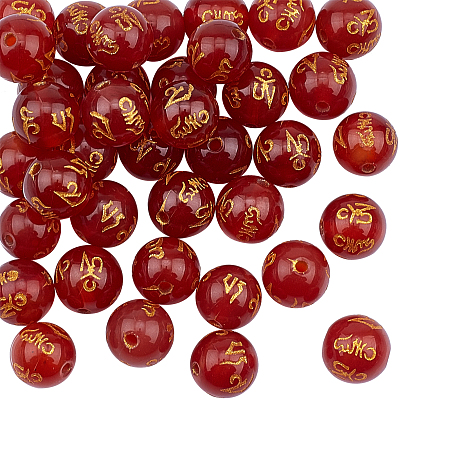 Olycraft Natural Agate Beads Strands, Om Mani Padme Hum, Round, Dyed & Heated, Red, 10mm, Hole: 1.5mm; about 38pcs/strand, 14 inches(35.6cm), 1strand