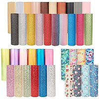 """PandaHall Elite 40 Sheets 6 Style Faux Leather Fabric Sheets - Rainbow Mirrored, Glitter, Christmas Theme, Sequins PU Leather Sheets for Earring Hair Bows Crafts Making, A5 Size 6"""" x 8"""""""