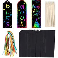NBEADS 190 Pcs 3 Shapes Scratch Paper Tag, Scratch Art Rainbow Labels Bookmarks Gift Tags with Ribbon Twine and Bamboo Sticks for Wedding Party Gift Tag, 15x5cm