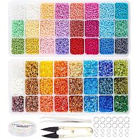 NBEADS Glass Seed Beads Kit, 2 Styles 1.8~2mm Pony Seed Beads with 0.6mm Elastic Crystal Thread, Stainless Steel Tweezers, Big Eye Beading Needles and Scissors for Bracelet Necklace Jewelry Making