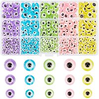 NBEADS 650 Pcs Resin Evil Eye Beads, Flat Round Evil Eye Beads Colorful Resin Charms Evil Eye Loose Beads for DIY Jewelry Making, 5 Colors