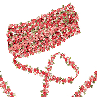 Gorgecraft Flower Polyester Trim Ribbon, for Curtain Lace Trimmings, Red, 3/4 inches(20mm)