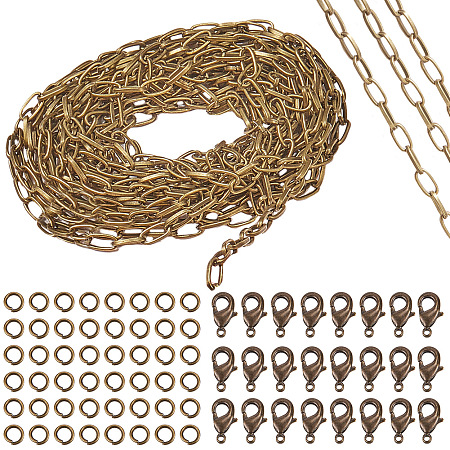 SUNNYCLUE DIY Chain Making Kits, with Unwelded Iron Cable Chains, Zinc Alloy Lobster Claw Clasps and Brass Jump Rings, Antique Bronze, 10x4.8x1.5mm, 5m