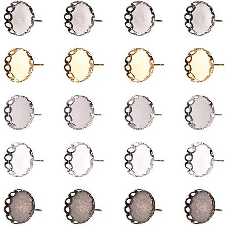 NBEADS 50 Pcs 13mm Mixed Color Flower Brass Bezel Earring Stud Components, 50 Pcs Transparent Glass Cabochons and 50 Pcs Plastic Earring Ear Nuts for DIY Photo Craft Earring Jewelry Making