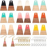 Olycraft DIY Dangle Earring Making Kits, include Resin & Wood Pendants, Brass Earring Hooks & Jump Rings, Trapezoid, Mixed Color, Pendants: 18x12.5x3~4mm, Hole: 2mm, 10 colors, 2pcs/color, 20pcs/box