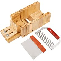 PandaHall Elite Adjustable Wooden Soap Cutter Soaps Beveler Planer Trimming Tool with Wavy Straight Planer Blade for Handmade Candles Soaps Making Tool