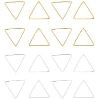 Arricraft 140 pcs 2 Colors Triangle Plated Brass Key Open Bezel Pendant Charm Blank Frame Hollow Pendants for UV Resin Crafts DIY Jewelry Making Golden Silver