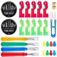 NBEADS 1 Set Sewing Tools Kits, Include Easy Automatic Threader, Sewing Scissors, Seam Ripper, Iron Sewing Thimbles for Sewing Crafting