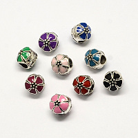 Arricraft Handmade Lampwork European Beads, Large Hole Beads, with Platinum Color Brass Double Cores, Rondelle, Colorful, 14x11mm, Hole: 5mm