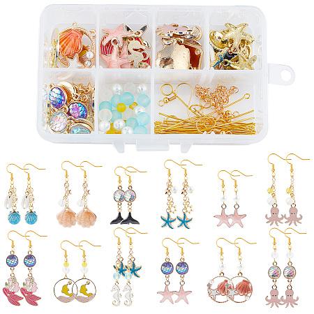 SUNNYCLUE DIY Ocean Themed Earrings Making Kits, include Alloy Enamel Pendants, Alloy Resin Links Connectors, Glass Beads, Glass Pearl Beads, Brass Earring Hooks, Golden & Light Gold