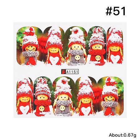 Arricraft Full Cover Nail Art Stickers, Self-adhesive, For Nail Tips Decorations, Christmas Theme, Christmas Snowman, Colorful, 6.2x5.4cm
