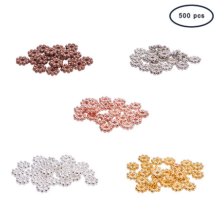 PandaHall Elite 500PCS 5 Color Alloy Flower Spacer Beads Jewelry Findings Accessories Bracelet Necklace Jewelry Making