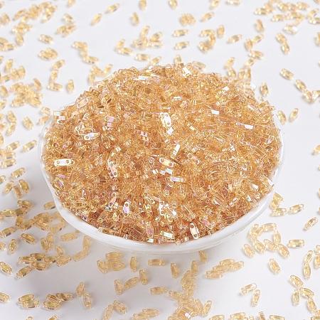 MIYUKI Quarter TILA Beads, Japanese Seed Beads, 2-Hole, (QTL251) Transparent Light Topaz AB, 5x1.2x1.9mm, Hole: 0.8mm; about 480pcs/10g