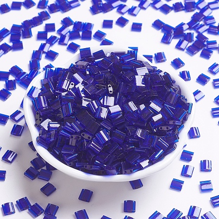 MIYUKI TILA Beads, Japanese Seed Beads, 2-Hole, (TL151) Transparent Cobalt, 5x5x1.9mm, Hole: 0.8mm; about 118pcs/10g