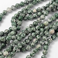 Arricraft Gemstone Beads Strands, Green Spot Jasper, Round, about 8mm in diameter, hole: about 1mm, about 46pcs/strand, 15~16 inches