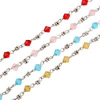 PandaHall Elite 5 Strands 3.3 Feet Faceted Crystal Glass Beads Chain Link with Tibetan Style Flower Spacer Beads and Eye Pin for Necklaces Bracelets Jewelry Making