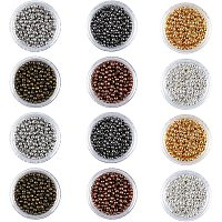 PH PandaHall 6000pcs 6 Color Round Spacers Beads 3mm Smooth Tiny Metal Loose Beads for Earring, Necklaces, Bracelets Jewelry Making