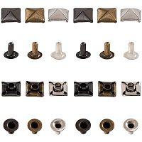 PandaHall Elite 120 Sets 6mm Pyramid Square Base Spikes, 3 Colors 5mm Long Brass Rivet Studs for Punk Garment, Leather Craft, Bags, Hats, Jeans, Shoes Decoration, Gunmetal/Platinum/Antique Bronze