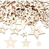 OLYCRAFT 200pcs Star Wood Pendant Hollow Natural Wood Pendants Wood Star Hanging Charms Pendant for Earring Necklace Jewelry DIY Craft Making Tree Ornaments Hanging Ornament Decorations