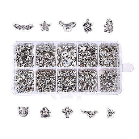 Tibetan Style Zinc Alloy Beads, Mixed Shapes, Mixed Color, 13.5x7x3cm; about 200pcs/box
