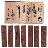 GORGECRAFT Plants and Flowers Style Wooden Rubber Stamps, for DIY Craft Card Scrapbooking Supplies, BurlyWood, 65.5x14.5x25.5mm and 32.5x17x25.5mm; 8pcs/set
