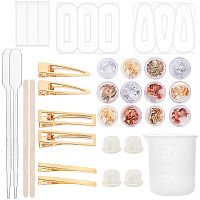 PandaHall Elite Jewelry Casting Mold DIY Hair Clip Making Kit - 300pcs 3 Style Alligator Hair Clip, 15pcs Hair Pin Silicone Resin Molds, 100ml Measuring Cup and 42pcs Hair Clip Making Accessories