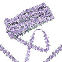 Gorgecraft Flower Polyester Trim Ribbon, for Curtain Lace Trimmings, Purple, 3/4 inches(20mm)