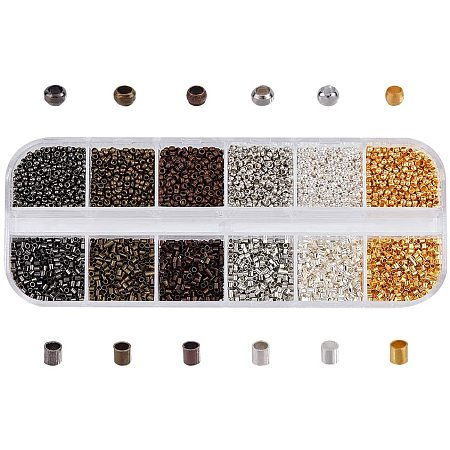 PandaHall About 10800 Pcs Brass Crimp Beads, 6 Colors 1.5mm Tube Crimp Beads and 2mm Diamter Flat Round Cord End Caps Beads for Bracelet Neckalce Jewelry Making