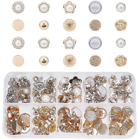 Pandahall Elite 100pcs 10 Style Faux Pearl Buttons Sewing Crafts with Shank Cover Up Buttons Half Ball Pearl Buttons for Clothes Shirts Suits Coats Sweaters, 10~13mm