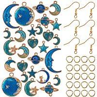 AHANDMAKER DIY Starry Sky Theme Dangle Earring Making Kits, with Zinc Alloy Enamel Pendants & Links, Iron Earring Hooks & Jump Rings, Golden & Light Gold