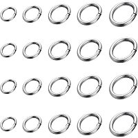 Unicraftale 304 Stainless Steel & 316 Surgical Stainless Steel Jump Rings, Close but Unsoldered Jump Rings, Oval, Stainless Steel Color, 3.5~8x2.5~6x0.5~1mm, inner: 1.5~4x2.5~6mm; 1000pcs/box