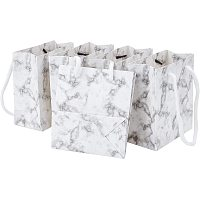 BENECREAT 12 Pack 4.7x4.3x2.2 Inches Rectangle Marble White Paper Gift Shopping Bags with Handle for Christmas Anniversaries, Weddings, Birthdays Jewelry Gift Packing