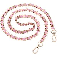 PandaHall Elite 2 Pcs 47 Inch Flat Bag Strap Chain Replacement, 12mm Iron Curb Chains with PU Leather for Crossbody Handbag Purse Shoulder Bag, Pink