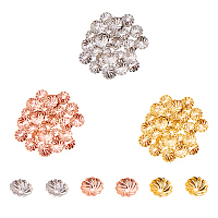 PandaHall Elite About 600 Pcs Brass Flower Bead Caps 7x2mm for Jewelry Making 3 Colors