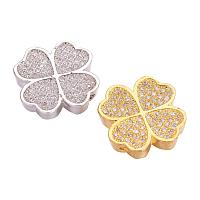 ARRICRAFT Brass Micro Pave Cubic Zirconia Beads for Jewelry Making, Clover, Clear, Mixed Color, 15x15x3.5mm, Hole: 2x1.5mm