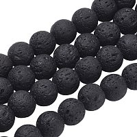 Olycraft Natural Lava Beads Strands, Round, Black, 6mm, hole: 0.8mm; about 60pcs/strand, 16 inches