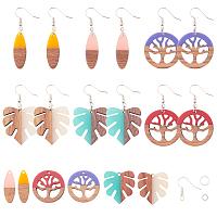 SUNNYCLUE DIY Dangle Earring Making, with Resin & Wood Pendants, Brass Earring Hooks, Iron Jump Rings, Mixed Color, Pendants: 12pcs/set